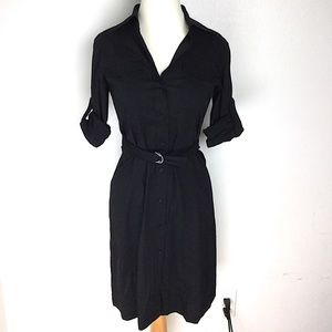 Theory | Size 4 Linen Black Button Up Dress Safari